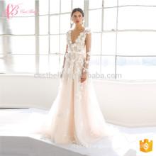 2017 Último vestido de boda backless nupcial blanco sin mangas