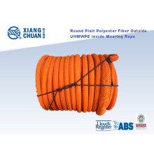 Round Plait Polyester Fiber Outside UHMWPE Fiber Inside Mooring Rope