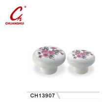 Beautiful Ceramic Knob Handles with Flower Pattern (CH13907)