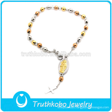 TKB-JB0064 Two tone loop chain christ jewel with crucifix and Virgin Mary 316L stainless steel bracelets & bangles