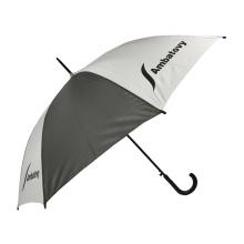 Bâton de ville régulier 46 `` impression de logo multicolore marque personnalisée parapluie bon marché automatique chinois avec poignée tordue en plastique