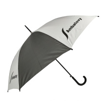 Regular city stick 46'' multi-color logo printing customized brand chinese automatic cheap umbrella with plastic crooked handle