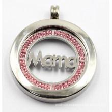 Colgante quirúrgico de alta calidad del medallón del acero inoxidable 316L con la moneda de la mamá dentro