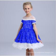 ropa para niños vestido de fiesta de encaje azul oscuro vestido transparente blanco y azul vestidos mullidos del ajuste del cordón vestidos occidentales al por mayor