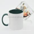 Sunmeta 11oz sublimation inner & handle color mug green