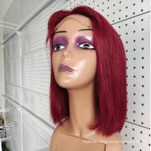 Cuticle Aligned Virgin Human Hair Lace Front Wig, Raw Brazilian Bob Wig Human Hair,Short Colored Bob Wig For Black Women