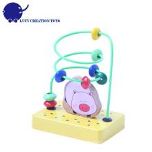 Kinder pädagogischen hölzernen Tier Mini Bead Maze Rack Spielzeug