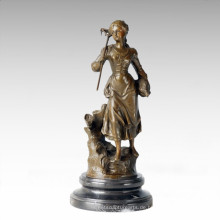 Klassische Figur Statue Dorf Bauernhof Frau Bronze Skulptur TPE-279