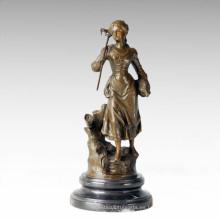 Figura clásica estatua de la aldea de la granja de la mujer de escultura de bronce TPE-279