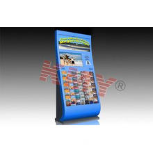 Blue Floor Standing Interactive Information Kiosk Display F