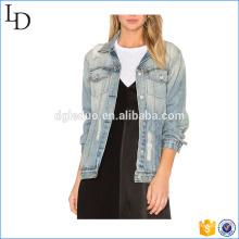 Boyfriend style denim veste femmes plain en détresse jeans veste veste en jean femmes