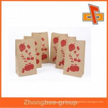 Custm gedruckt Kraftpapier Tasche Heißsiegel Kraft Papier Brot Tasche