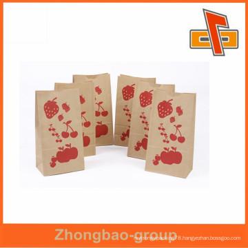 Custm printed kraft paper bag heat seal kraft paper bread bag