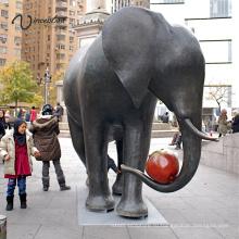 Большая открытая медная скульптура металл ремесла бронзовая статуя слона для домашнего украшения