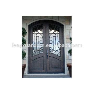 Fer à repasser portes d'entrée principale, portes en fer forgé à double entrée, porte en bois en fer forgé
