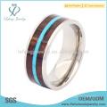 Mens anillos de titanio de madera inlay, plata de titanio anillo de la joyería de la banda