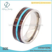 Mens titanium wood inlay rings, silver titanium ring band jewelry