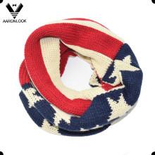 EUA estrela bandeira acrílico malha inverno lenço estilo americano para crianças