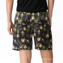 Summer luxury breathable men silk shorts printed custom 100% silk shorts men