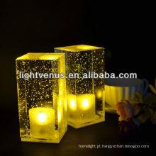 Bateria operado sem fio cristal Clear mesa de LED recarregável luz