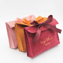 Custom Logo Printed Small Envelope Flap Suede Jewelry Bag Velvet Pouches with Bow-Knot