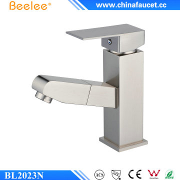 Beeleee Modern Brushed Nickel Bathroom Pull out Basin Faucet