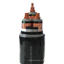 Câble d'alimentation blindé XLPE à 4 fils solides