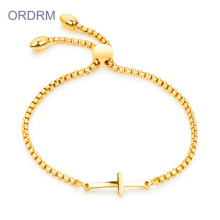 Gelang Rantai Emas Stainless Steel Cross Tarik