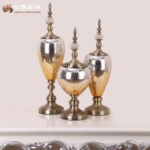 decoración de interiores de alta calidad de vidrio decorativo y material de metal jarrón chino hecho a mano