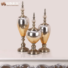 Maison de haute qualité décoration intérieure en verre et matériel métallique vase chinois à la main