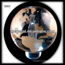 boule de verre de cristal k9 sablée