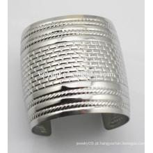 Mulheres largas Pulseira de prata aberta do bracelete do vintage