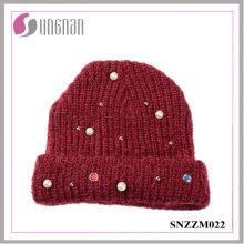 2016 el último sombrero hecho punto gorra de lana de hilo de Diamante (SNZZM022)