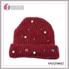 2016 Latest Knitted Hat Pearl Diamante Wool Yarn Cap (SNZZM022)