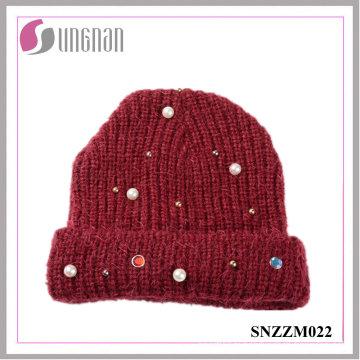 2016 Chapeau de fil de laine Pearl Diamante tricoté dernier (SNZZM022)