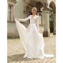 Vestido de novia de gasa de verano con largas mangas de encaje