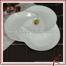 12' white porcelain snacks service dish