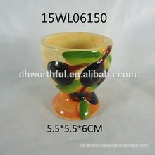 2016 factory direct sale ceramic egg cup with olive design