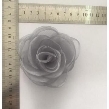 Gray Flower Pin with Fabric