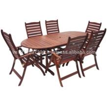 Meranti Outdoor / Gartenmöbel Set - Tisch + 6 Stuhl