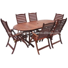 Meranti Ensemble de meuble de jardin / jardin - Table + 6 chaise