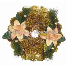 Горячая распродажа искусственные рождественские венки из сосновых шишек