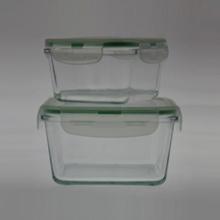 Réservoir d'aliments en verre borosilicate S / 2 carré