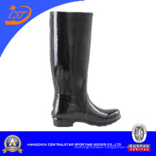 Ladies Black High Style Rubber Rain Boots