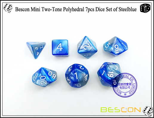 Bescon Mini Two-Tone Polyhedral 7pcs Dice Set of Steelblue-4