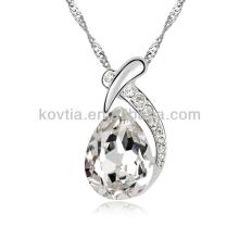 Новые товары 2016 цинковый сплав ювелирные изделия белый драгоценный камень падение кулон ожерелье