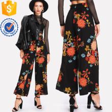 Frilled Waist Floral Wide Leg Pants Manufacture Wholesale Fashion Women Apparel (TA3085P)
