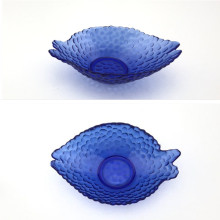 Fish-Shaped Glass Dish With Deep Blue Color
