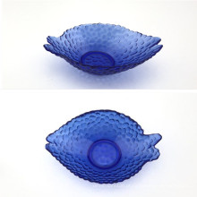 Prato De Vidro Em Forma De Peixe Com Cor Azul Profundo