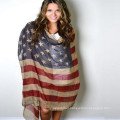 Always hot Selling whosale price best classic unisex screening pirnting Polyester Voile American Flag scarf